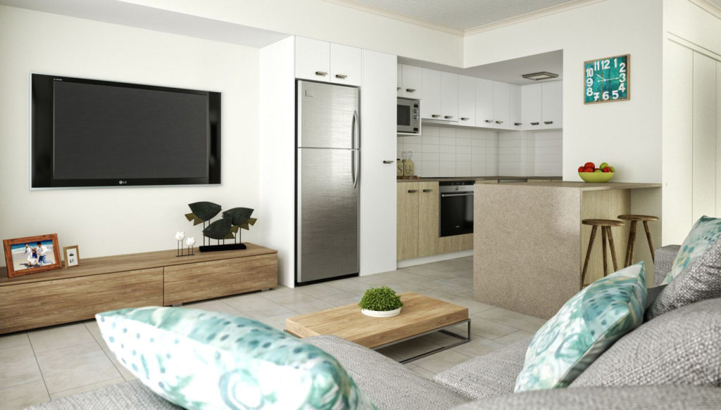 Maroochydore Apartment Kitchen and Living Area